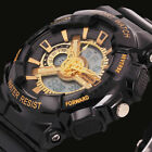 Sanda Men Gold Date Day LED Analog Digital Water Resist Shock Sport Wrist Watch