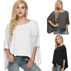 Fashion Women Casual O-neck Batwing Long Sleeve Solid Loose T-shirt Top N98B