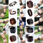 Mens Ladies Unisex Real Genuine Leather Braided Surfer Bracelet Wristband Brown