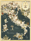 1949 Gastronomical Wall Map of Italy Cuisine Food Regions Italian Poster Print