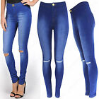 LADIES HIGH WAIST RIP KNEE SKINNY JEANS BRIGHT BLUE WASH STRETCH TUBE JEGGINGS