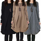 Plus Size Fashion Womens Casual Loose Long Sleeve Shirt Blouse Tops Mini Dress