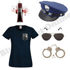 LADIES ZOMBIE NEW YORK AMERICAN POLICE WOMAN COP FANCY DRESS COSTUME HALLOWEEN