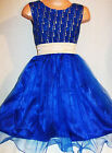 GIRLS ROYAL BLUE GOLD GLITTER PRINT SATIN TULLE SPECIAL OCCASION PARTY DRESS