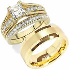 HIS & HERS 14K Gold Plated Tungsten Stainless Steel CZ Wedding Ring Band Set
