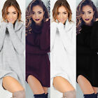 SLIM Women Long Sleeve Bodycon Dress Warm Turtleneck Knit Sweater Jumper Winter