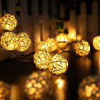 Room 20 White Rattan Ball LED Light String Fairy Lamp Wedding Party Xmas Decor