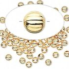 100 OR 1000 Gold Plated Brass Corrugated Round Metal Beads   * 3mm