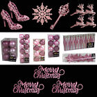 Pink Glitter/Plain Christmas Tree Decorations Baubles Stars Cones & More