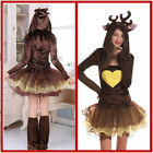 Adult Woman's Ladies Christmas Miss Reindeer Girl Party Fancy Dress Costume New