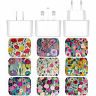 CARRIE SCHMITT FLORALS WHITE UK CHARGER & USB CABLE FOR APPLE iPHONE PHONES