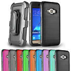 For Samsung Galaxy J1 (2016) / Amp 2 Case Belt Clip Holster Combo Brushed Cover