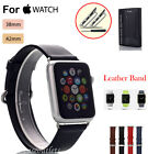 Real Genuine Leather Watch Band Strap for Apple Watch + Classic Buckle 38mm/42mm
