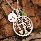 925 Sterling Silver Personalised Tree Of Life 18K Vermeil Heart Pendant Necklace