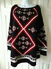 Ralph Lauren Plus Woman Black and Red Indian Blanket Tunic Sweater  2X  3X