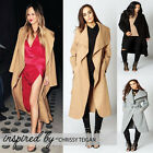 New Women Ladies Waterfall Belted Jacket Wool Long Sleeves Coat Size 8 To 14