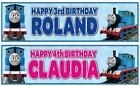 "2 PERSONALISED 36"" x 11"" THOMAS THE TANK ENGINE BIRTHDAY BANNERS"
