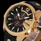 Curren Men's Big Size Leather Strap Gold Case Analog Military Sport Wrist Watch