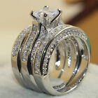 Size5-11 Women Luxury Jewelry 925 Silver 7mm Topaz CZ Wedding Band Ring Set Gift