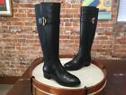 Isaac Mizrahi Black Leather & Stretch Senso Riding Boots New