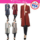 ReneeC. Women's Open Front Rib Knit Soft Classic Long Cardigan Made in USA