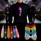 LED Flashing Light Up Sequin Bowtie Necktie Mens Boys Party Bow Tie Wedding Gift