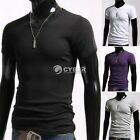 T-shirt Short Sleeve Muscle Tee V-Neck Men Slim Fit Cotton Solid Basic Casual