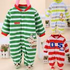 Boy Girls Kids Clothes Animal Print Baby Stripe Long Sleeve Romper Jumpsuit DZ88