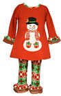 Внешний вид - Bonnie Jean  Baby Girls Christmas Santa Snowman Red Legging Set 12 18 24 Months