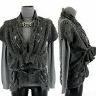 Cardigan Jacket Wool tulle netting bohemian chic Dark Gray VICTOIRE