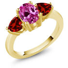 2.73 Ct Oval Pink Created Sapphire Red Garnet 18K Yellow Gold Plated Silver Ring