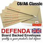 C6 CLASSIC A6 Size STRONG BOARD BACKED POSTAL ENVELOPES Hard Card Back 162x114mm