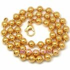 8mm IP ION Gold Never Fade Stainless Steel Military Ball Lobster Claw Necklace