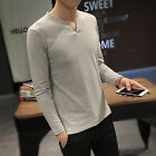 Men'S T Shirt 2016  Fashion Solid color V-neck  Long sleeve  Casual Slim Tees