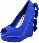 Royal Blue PIN UP Bow Schleifen SUEDE Peep Toe WEDGES Rockabilly