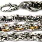 10mm Mens Shiny Rope  316L Stainless Steel Clasp  Necklace Black / Gold tone
