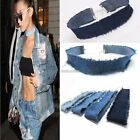 Celebrity Inspired Frayed Denim Jeans Boho Choker Necklace N98B