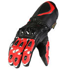 Mens Texpeed Black & Red Armoured Leather Motorcycle Gloves With Vents
