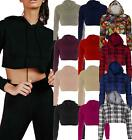 Ladies Raw Edge Cropped Hoodie Pullover Sweatshirt Top Long Sleeve Short Plain