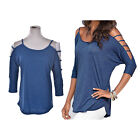 Womens sexy Long Sleeve Shirt Casual Blouse Loose Cotton Tops T-Shirt OZ