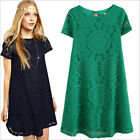 New Women Casual Summer Lace Chiffon Dress Short sleeves Hollow out Plus Size
