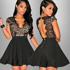 Fashion Women Summer Lace Short Sleeve Party Evening Cocktail Short Mini Dress
