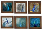 Blue Peacocks Home Decorative Framed Ceramic Tile Wall Plaque Bench Stand BN