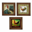 NEW Rooster Country Ceramic Framed Tile / Wall Art / Hall Table Decor Plaque