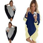 Fashion Womens Casual Loose Long Sleeve Irregular Dress Evening Party Mini Dress
