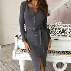 Women Bandage Bodycon Long Sleeve Evening Party Cocktail Pencil Mini Dress SEAU