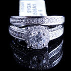 Ladies 14K White Gold Fn Lab Diamond Solitaire Enagement Ring Two Infinity Band