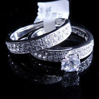 Ladies 14K White Gold Fn Lab Diamond Round Solitaire Enagement Ring Band