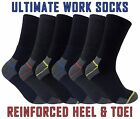 Mens Ultimate Heavy Duty Cushioned Cotton Steel Toe Boot Crew Work Socks Lot