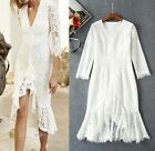 2017 spring occident long sleeve V collar lace white or black dress pretty lofty